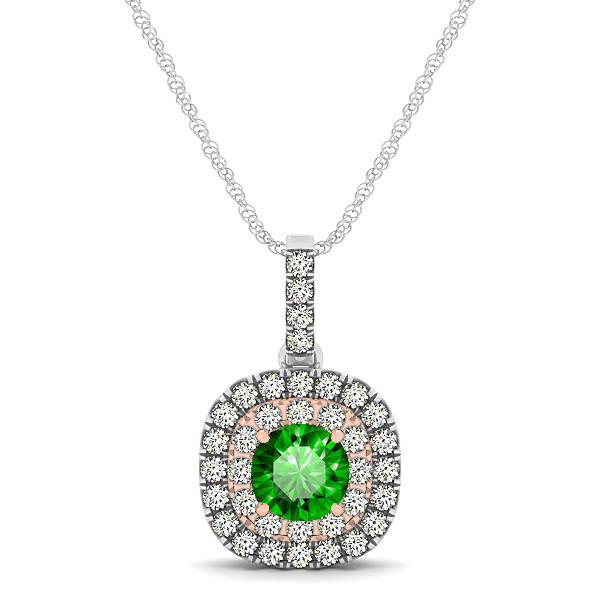 Cushion Shaped Halo Necklace with Round Emerald Pendant
