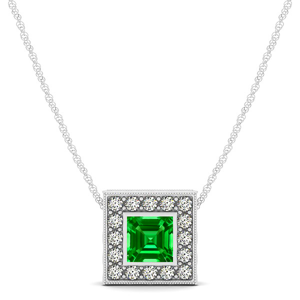 Vintage Square Emerald Halo Necklace