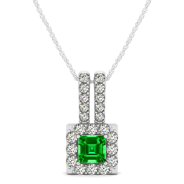 Contemporary Square Halo Necklace Princess Cut Emerald
