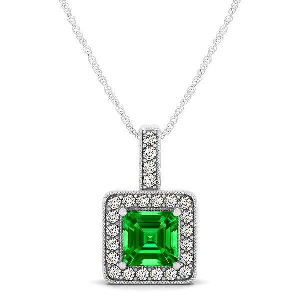Square Emerald Halo Necklace in Gold or Sterling Silver