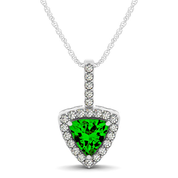 Beautiful Trillion Cut Emerald Halo Necklace