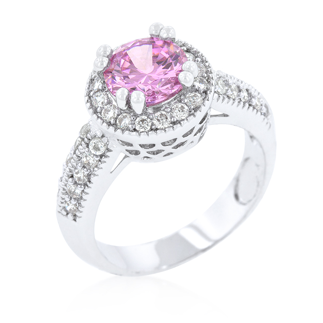 Engagement Ring Halo Setting Pink CZ