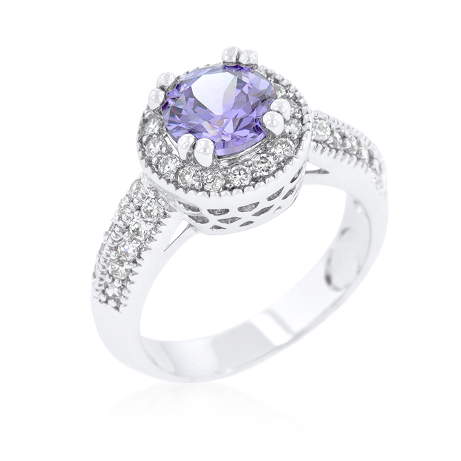 Engagement Ring Halo Setting Lavender Purple CZ