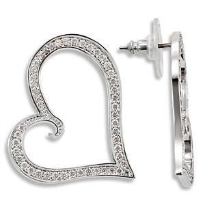 Silver Tone Fashion Earrings Clear CZ