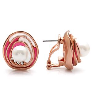 Rose Gold Plated Fashion Earrings White Synthetic Pearl