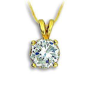 14K Yellow Gold Plated Fashion Necklace Clear CZ