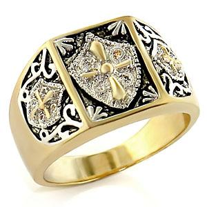 Two Tone Mens Cross Ring Black Epoxy