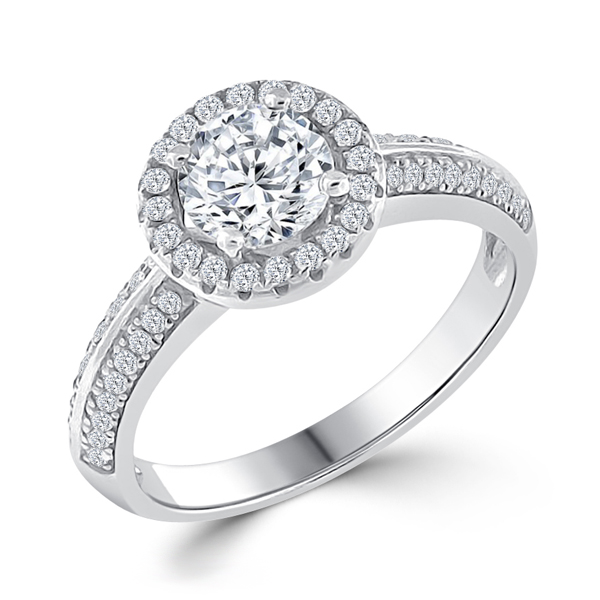 Silver Halo Engagement Ring 4.5 CT CZ