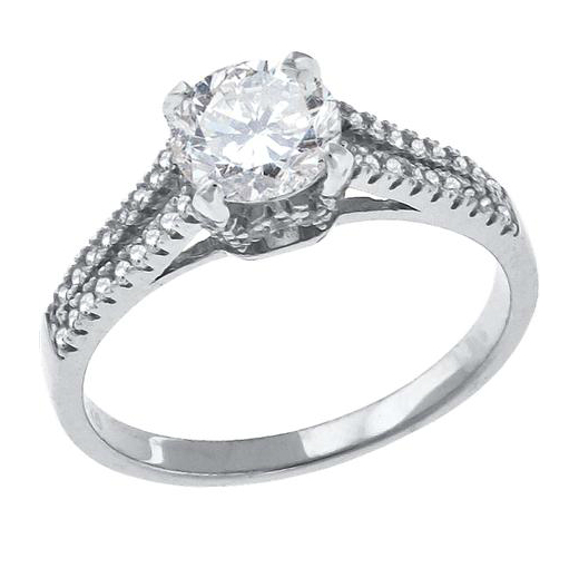 Shank Engagement Ring with 4 CT Cubic Zirconia In Sterling Silver