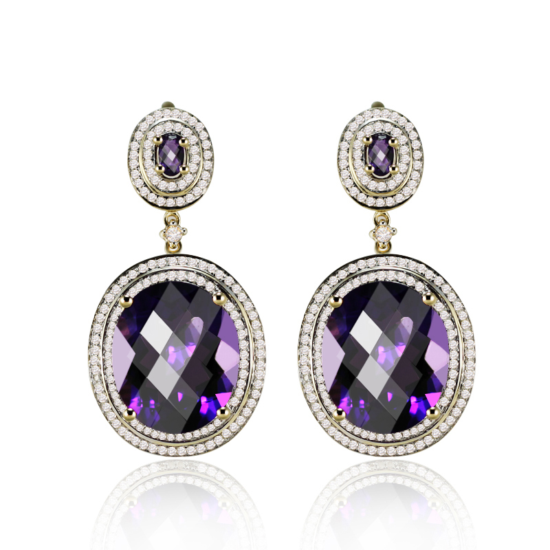 Extraordinary 23.68CT Amethyst & Diamond Dangle Earrings