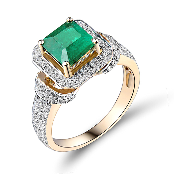Vintage Princess 1.89 CT Diamond & Emerald Engagement Ring 14K Yellow Gold
