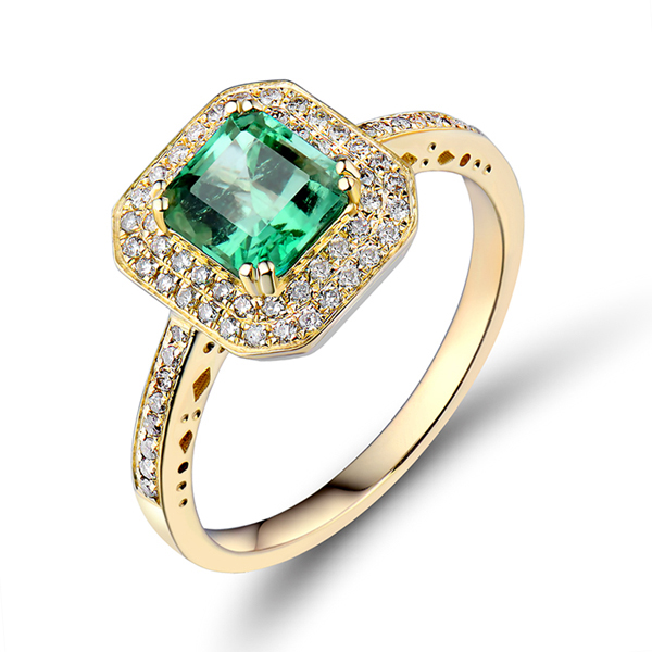 1.96 CT Classic Princess Emerald Engagement Ring with Diamond Pave