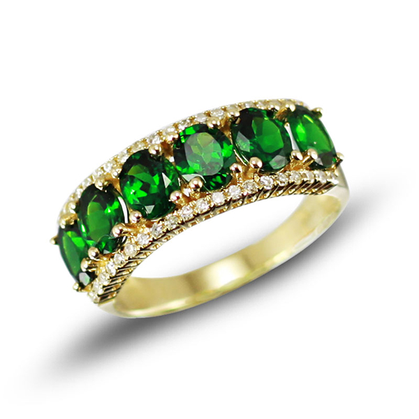 Vintage 2.37 CT Diamond & Tsavorite Gemstone Ring 14K Gold