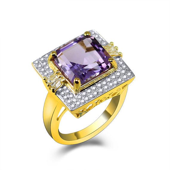 6.10 CT Princess Purple Amethyst Diamond Engagement Ring in Yellow Gold