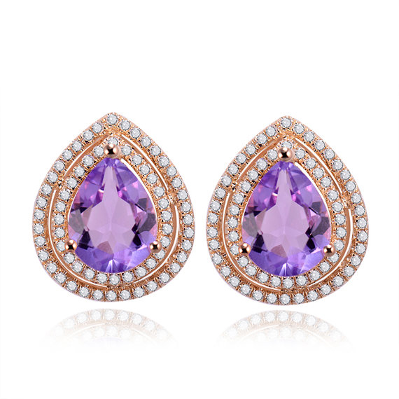 2.67 CT Pear Cut Amethyst Diamond Earrings 14K Rose Gold
