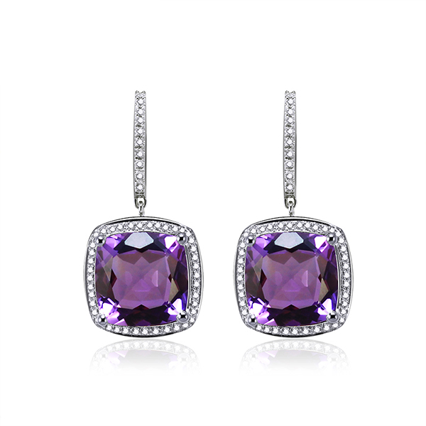 Cushion 11.80 CT Purple Amethyst Dangle Earrings w 1/2 CT Diamond Pave