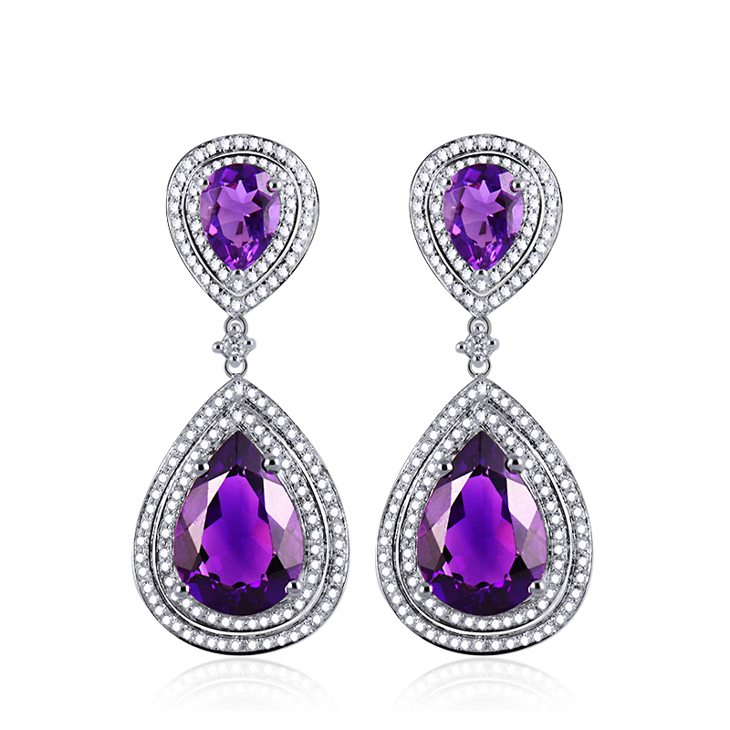 16.09 CT Pear Amethyst Drop Earrings with 1.30 CT Diamond Pave