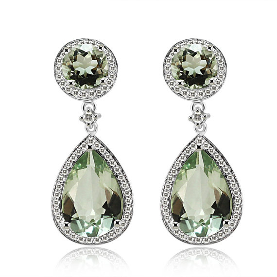 8.10 CT Natural Green Amethyst & Diamond Drop Earrings White Gold