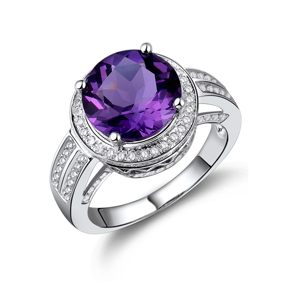 Vintage Halo 4.56 CT Amethyst Engagement Ring w Diamonds 14K White Gold