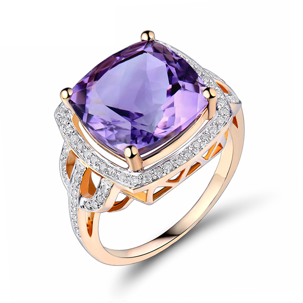 7.84 CT Cushion 12x12mm Purple Amethyst Engagement Ring with Diamonds