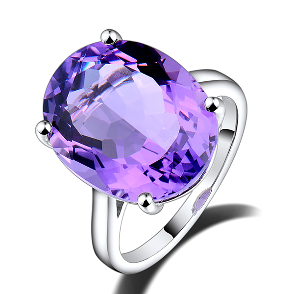Vintage Solitaire 9.99 CT Oval Purple Amethyst Engagement Ring 18K White Gold