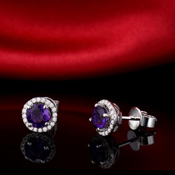 1.05ct Round Cut Purple Amethyst /& Diamond Halo Stud Earrings in 14k White Gold