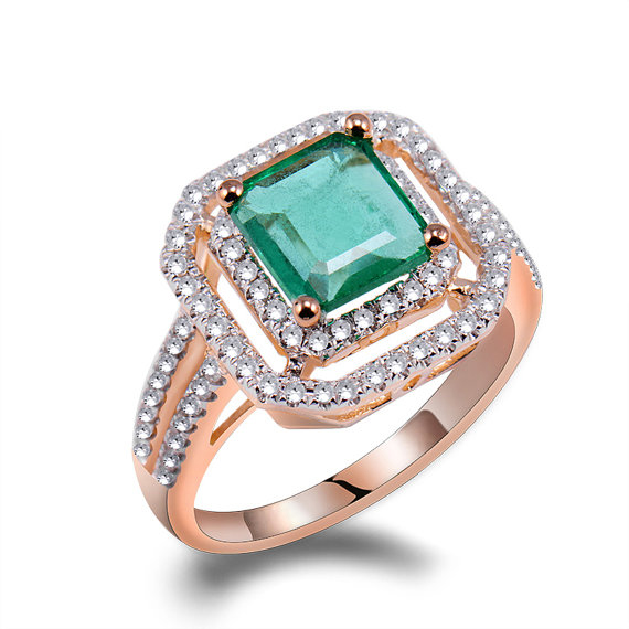 Exclusive 2.55 CT Princess Emerald & Diamond Pave Rose Gold Engagement Ring