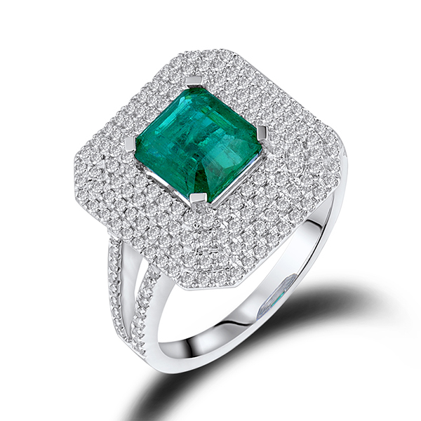 1.55 CT Princess Emerald Engagement Ring 0.92CT Diamond Pave