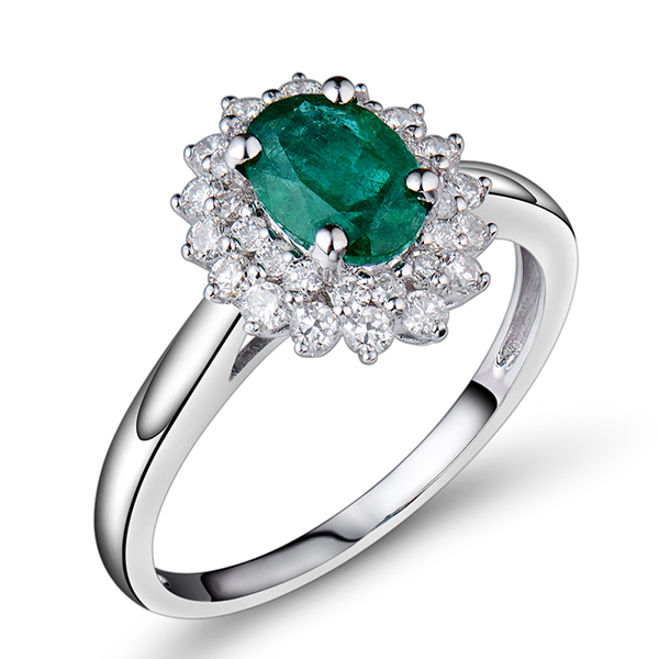 1.36 Carat Emerald Halo Engagement Ring With Diamonds 18K White Gold