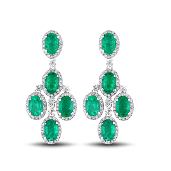 5.6 CT Exclusive Oval Emerald & Diamond Drop Earrings in 14K White Gold