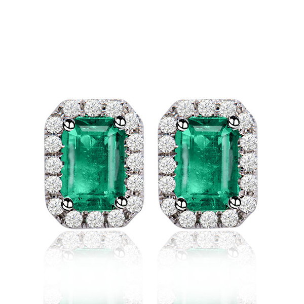 Classic Emerald Cut Earrings 14kt White Gold 0.30 CT Diamonds 2.10 CT Emerald
