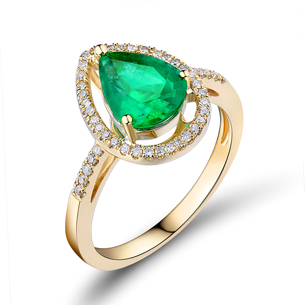 Pear Cut 1.52 CT Emerald Engagement Ring 0.20 CT Diamond Pave