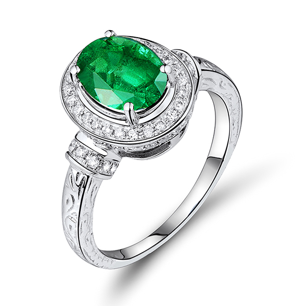 Vintage Halo 4.66 CT Diamond & Emerald Engagement Ring in White Gold