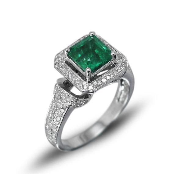 Princess 6.5mm Solid 14kt White Gold Diamond Emerald Ring G09326