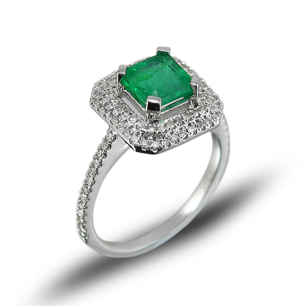 Princess Cut 1.28 CT Emerald Engagement Ring with 0.45 CT Pave Diamonds