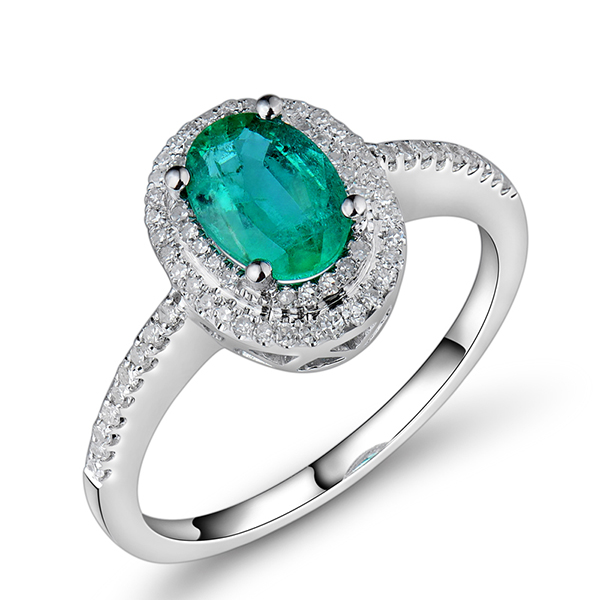 1.06 CT Oval Cut Green Emerald Diamond Engagement Ring White Gold