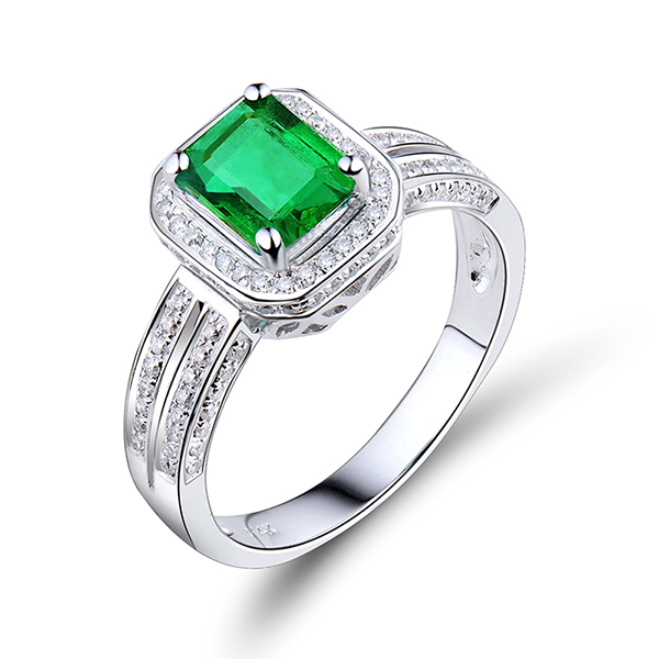 1.48 CT Exquisite Split Shank Emerald Cut Emerald Engagement Ring