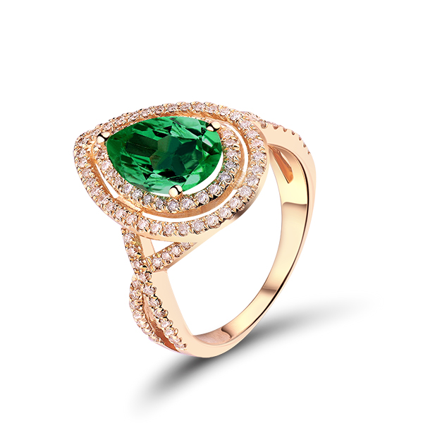 Fancy 2.02 CT Pear Cut Emerald & Diamond Engagement Ring in Yellow Gold