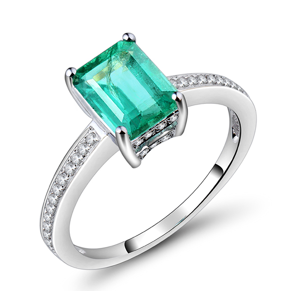 Classic 1.89 CT Emerald & Diamond Engagement Ring 14K White Gold