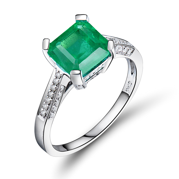 Stunning 1.70 CT Princess Emerald & Diamond Engagement Ring