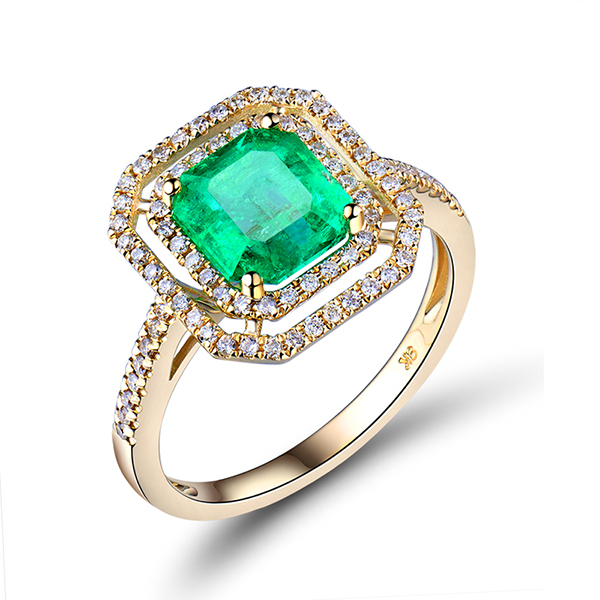 2.36 Carat Princess Emerald & Diamond Pave Engagement Ring