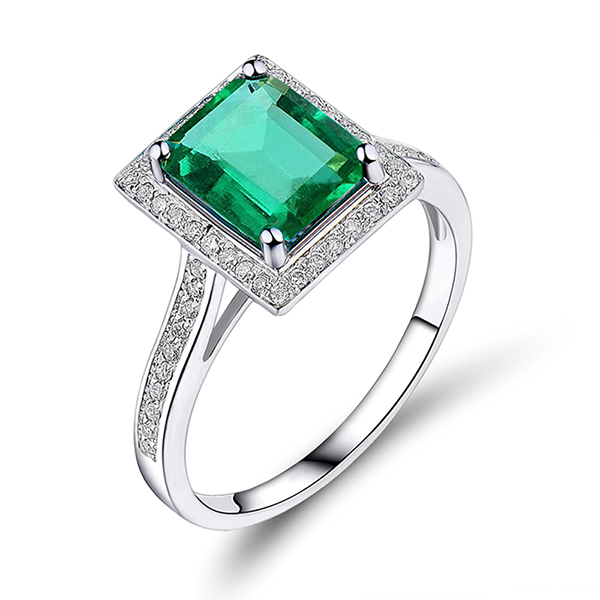 Emerald Cut 14K White Gold Diamond 1.70 CT Emerald Engagement Ring