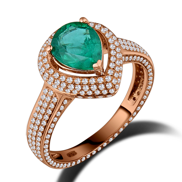 Genuine 1.27 CT Emerald Engagement Ring 18K Rose Gold 0.85CT Diamonds
