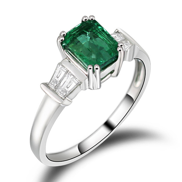 Solitaire 1.26 CT Emerald Engagement Ring 18kt White Gold Diamonds