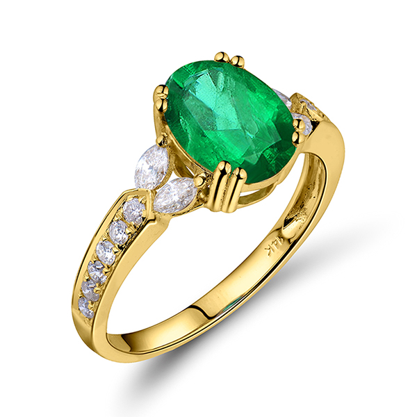 1.98 CT Oval Natural Emerald Engagement Ring with 0.50CT Diamond Side Stones