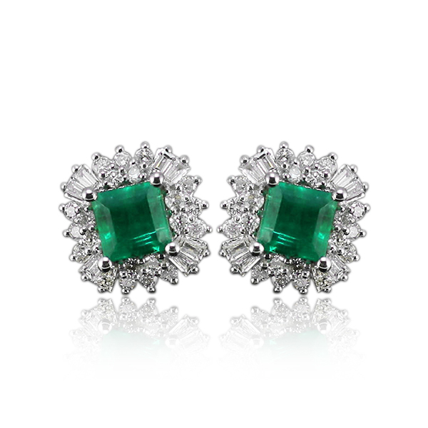 4.11 Carat Vintage Princess 6x6mm 18kt White Gold Diamond Emerald Earrings