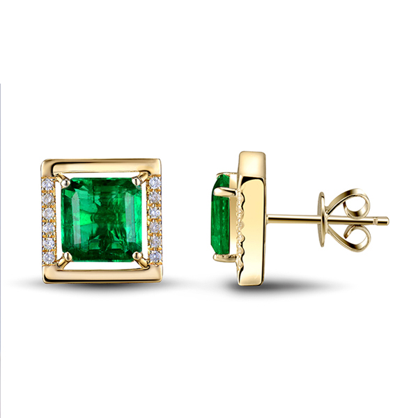 2.98 CT Princess Natural Diamond Emerald Stud Earrings Yellow Gold