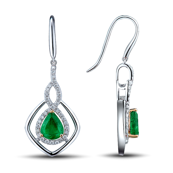Two Tone Gold 2.93CT Pear Emerald Drop Earrings Diamond Pave