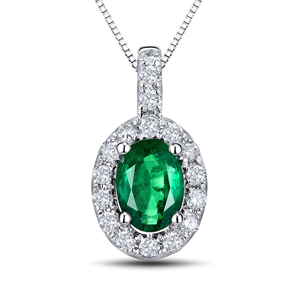 Stunning 1.06 CT Oval Cut Emerald Necklace with Brilliant Cut Diamond Pave