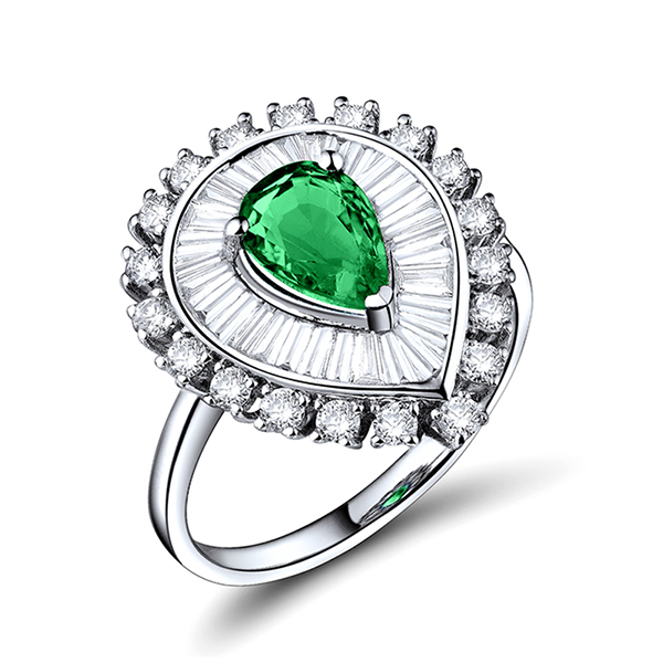 Fancy 2.13 CT Pear Cut Emerald Engagement Ring & Diamond Pave